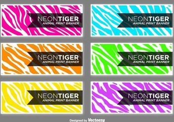 Vector Colorful Zebra Stripes Banners Set - Presentation Cards - Free vector #432269