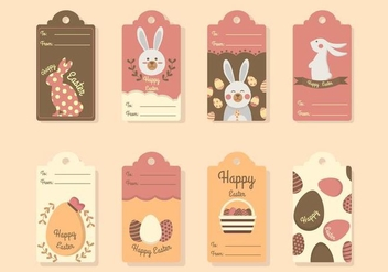 Flat Easter Gift Tag Vectors - Free vector #432309