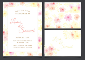 Vector Wedding Invitation with Floral Elements - бесплатный vector #432319