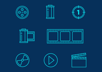 Free Film Vector Line Icons - Free vector #432329
