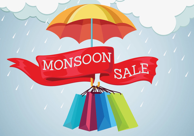 Vector Illustration Sale Banner with Rain Drops and Umbrella - бесплатный vector #432349