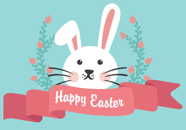Easter Bunny Flat Background Vector - Free vector #432419