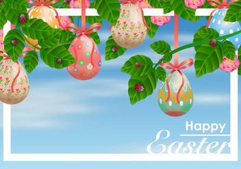 Decorative Easter Egg Hanging from Ribbons Vector - бесплатный vector #432429