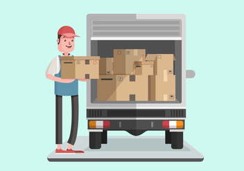 Moving Van With Courier Man Vector Illustration - vector gratuit #432459
