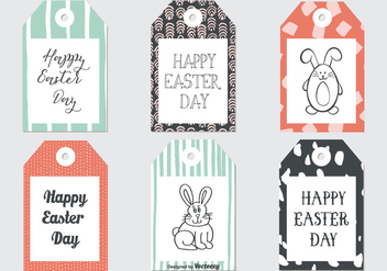 Cute Sketchy Easter Gift Tags Collection - Free vector #432479