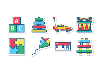 Kid Toys Icon Set - vector gratuit #432499