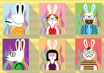 Hipster Easter Rabbit Character Vector Pack - бесплатный vector #432509