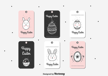 Doodle Easter Gift Tag - Free vector #432549