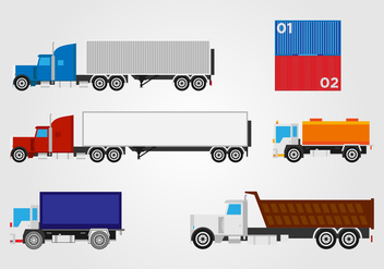 Flat Trucking Container Vector Set - Kostenloses vector #432729