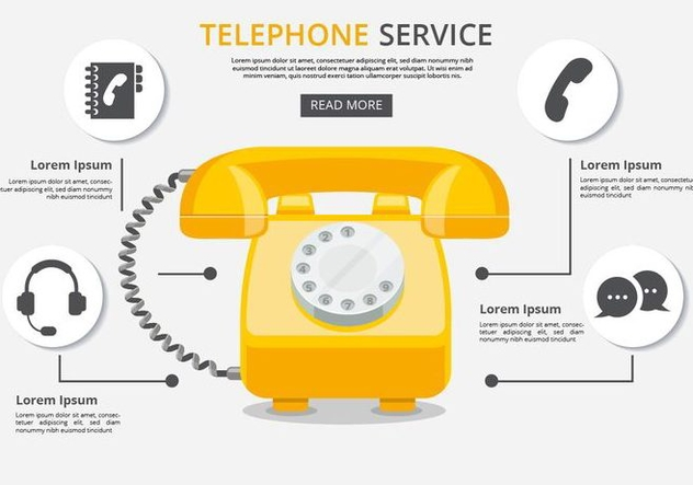 Free Telephone Service With Icons Vector - Free vector #432739
