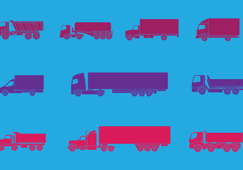 Camion and Trucks Icons Set - vector #432759 gratis