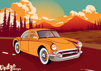 Vintage Classic Car Dodge Charger Across The Road Vector Illustration - Free vector #432819