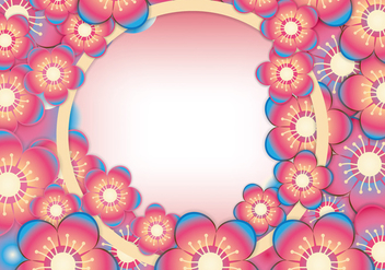 Cherry or Peach Blossom Frame Vector - Free vector #432859