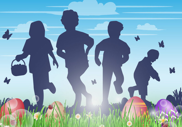 Kids Hunting Easter Egg Vector Background - vector gratuit #432879