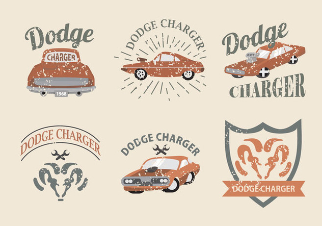 Vintage Classic Car Dodge Charger Label Vector Pack - vector #433039 gratis