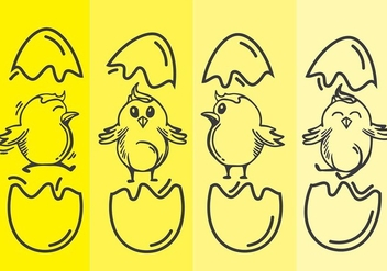 Easter Chick Line Art Vector - vector #433149 gratis