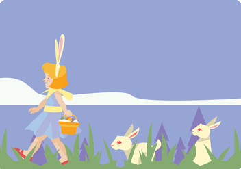 Litle Easter Egg Hunter Girl Vector - Free vector #433169