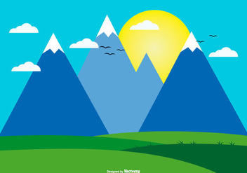 Cute Flat Landscape Illustration - Free vector #433359
