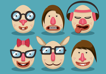 Woman Hipster Easter Vector Set - Free vector #433389