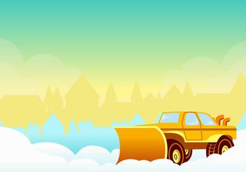 Snow Blower in the Sunset Vector - vector gratuit #433399