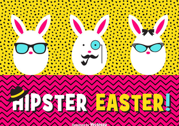 Happy Hipster Easter Eggs Vector Card - Free vector #433459