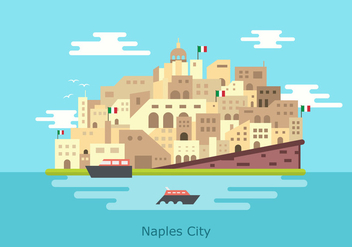 Naples historical Nouvo Castle Building Vector Flat Illustration - Kostenloses vector #433549