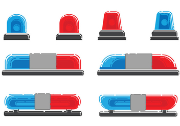 Police Lights Vector Set - Free vector #433559