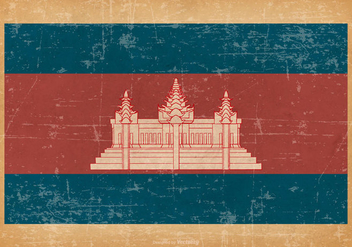 Grunge Flag of Cambodia - vector gratuit #433599