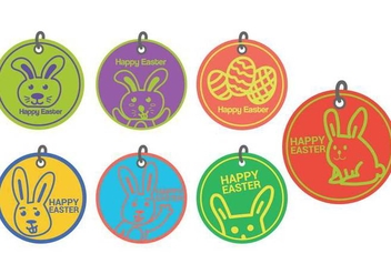 Easter gift tag circle vector set - Kostenloses vector #433609