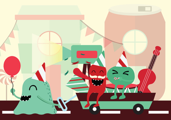 Monster Block Party Vector Background - vector gratuit #433629
