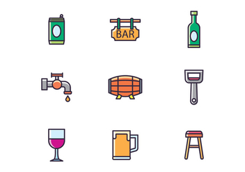 Bar & Drinks Icons - vector #433679 gratis