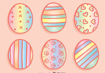 Rainbow Easter Eggs Vectors - Free vector #433759