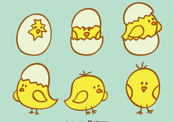 Hand Drawn Cute Easter Chick Vector - бесплатный vector #433769