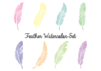 Feather Watercolor Set - бесплатный vector #433869