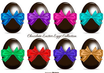 Chocolate Easter Eggs with Colorful Gift Bows - vector gratuit #433939