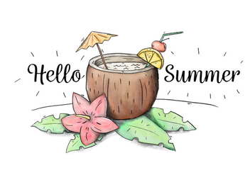 Cute Cocktail Coconut Drink With Umbrella And Leaves To Summer - vector gratuit #434149