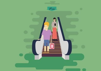 Free Down Escalators With Man And Woman Illustration - vector gratuit #434219