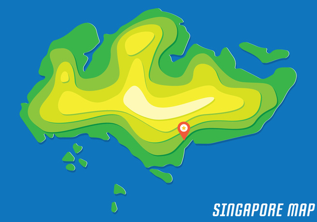 Singapore Map With Contour - Free vector #434229