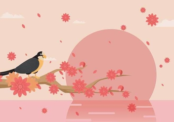 Elegant Spring Background Decorated With Peach Flowers Vector - Free vector #434279