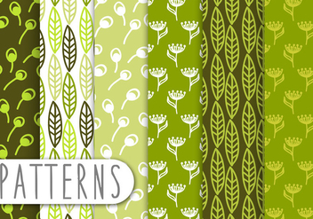Decorative Green Leaf Pattern Set - Kostenloses vector #434319
