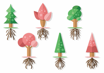 Tree With Roots Vector Set - Free vector #434759