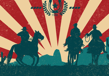 Gaucho Silhouette With Vintage Style - бесплатный vector #434799