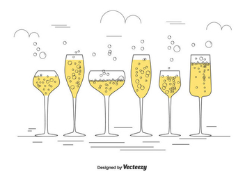 Champagne Glasses Vector Set - Free vector #434889