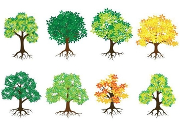 Tree With Roots Vector Icons - vector #434929 gratis