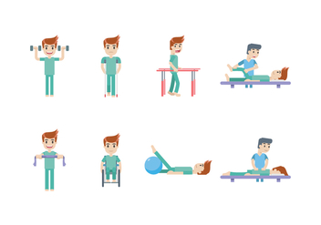 Physiotherapy and Rehabilitation Icon Set - vector #434959 gratis
