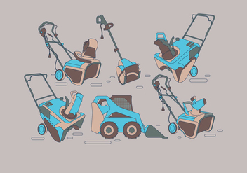 Teal Snow Blower Vectors - бесплатный vector #435019
