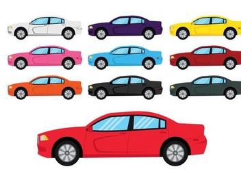 Dodge charger car illustration set - vector #435069 gratis