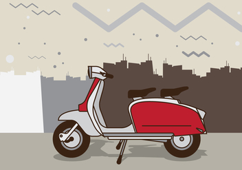 Retro Scooter Illustration - vector gratuit #435139