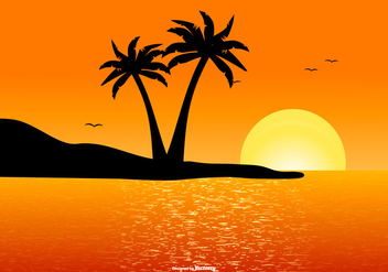 Beautiful Tropical Landscape Scene - Free vector #435209