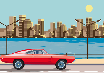 Red Dodge Charger 1970 - vector #435219 gratis